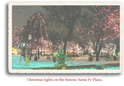 Christmas lights on the historic Santa Fe Plaza.