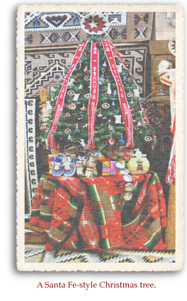 A Santa Fe-style Christmas tree is decorated by one the many local shops for the holiday season..
